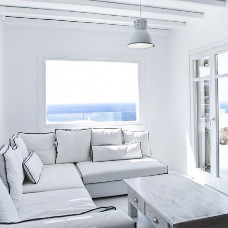 white living room mykonos