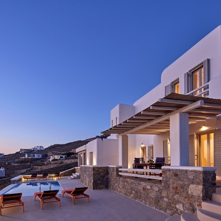 Aegean View villa at night