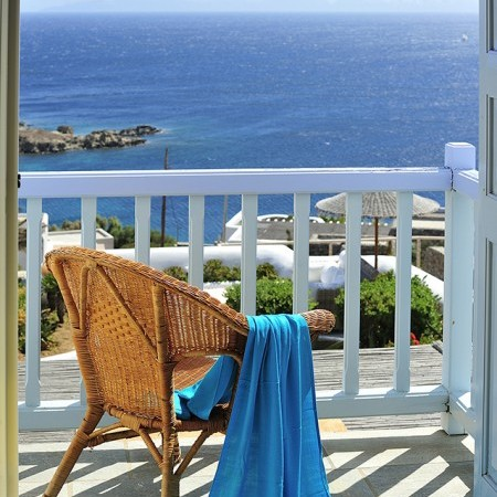 private veranda sea view to Mykonos