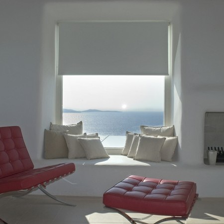 living area with sea view