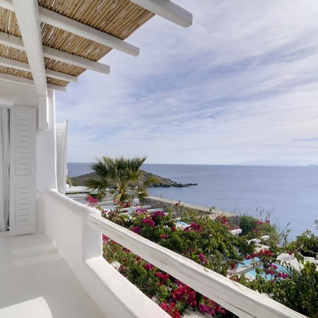 Mykonos Villa for rent balcony with sea view