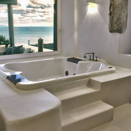 bathroom with sea view