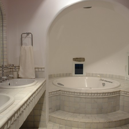marble bathroom at luxury villa Secret of Mykonos