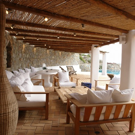 outdoor shaded dining area at Secret of Mykonos