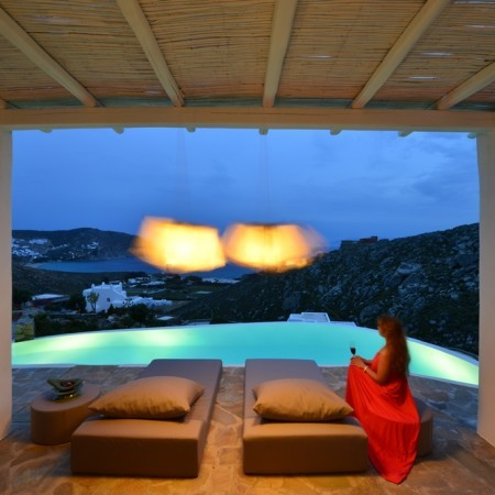 Mykonos villa Afitis night
