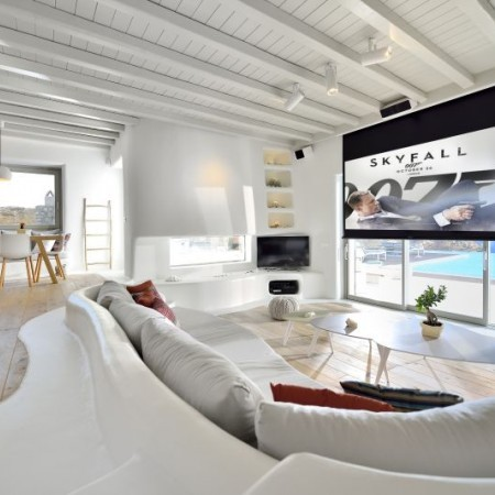 living room with home cinema