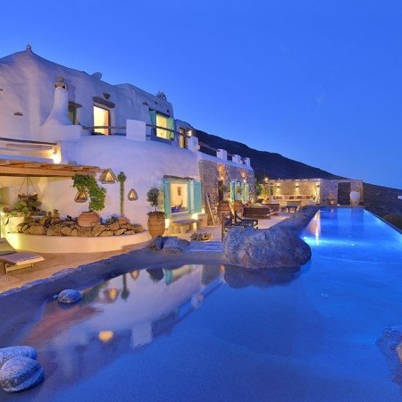 Mykonos Gem Villa pool night