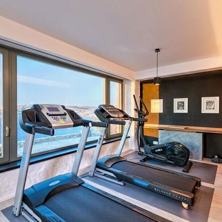 private gym inside the villa