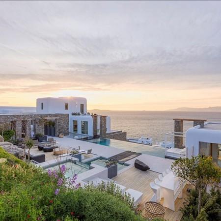 the villa after sunset
