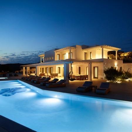 mykonos luxury villa at night