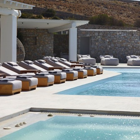 pool closeup and sun loungers