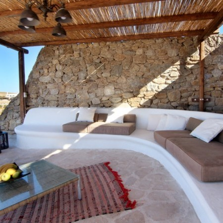 outdoor relaxation area with pillows