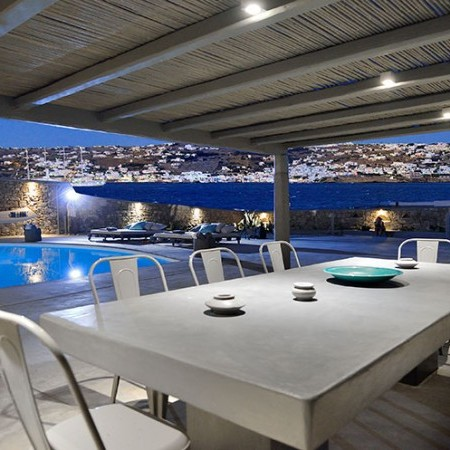 outdoor dining area at night