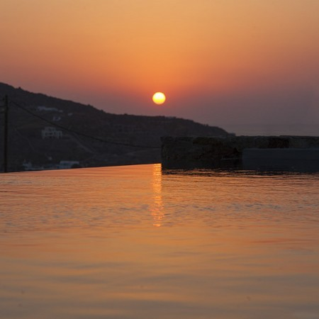 breathtaking sunset view in Mykonos villa