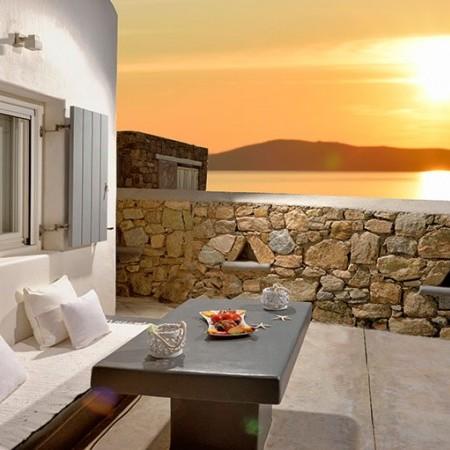 sunset from villa Basil 1 in Mykonos