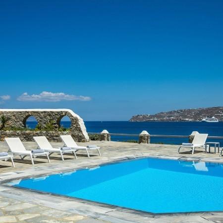 pool area of the villa Chrissi in Kanalia Mykonos