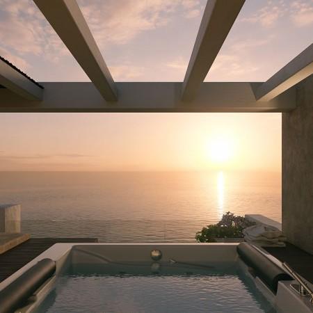 villa in Mykonos with sunset view