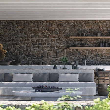 outdoor sitting area with built-in sofas
