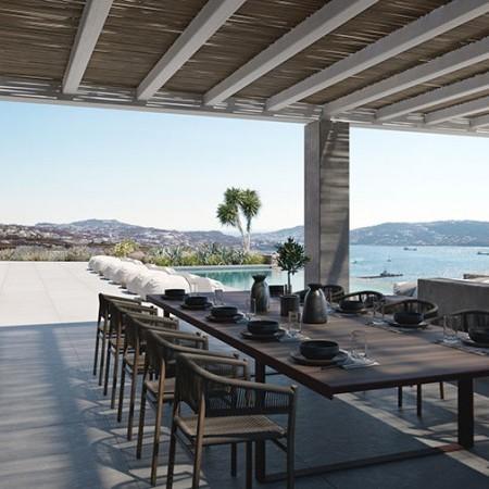 exterior dining at Aenaon villa in Mykonos