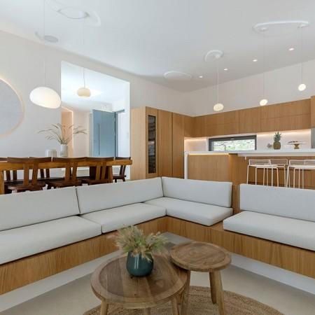 kitchen and corner sofa