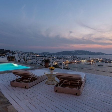 view to Mykonos Town at night