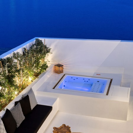 the Jacuzzi at night
