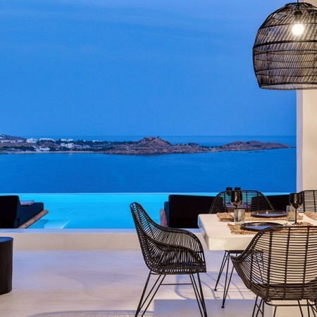 sea and pool view by nighttime
