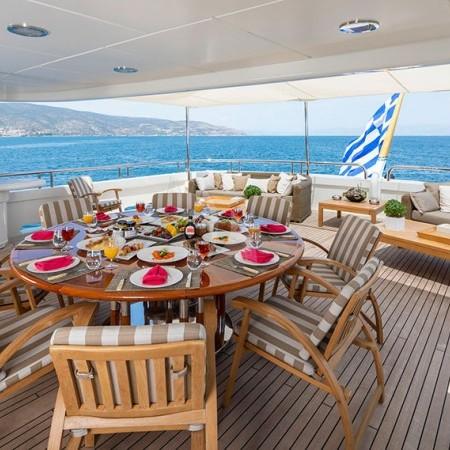 Marla yacht cabin deck dining area