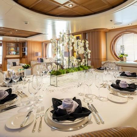 marla luxury yacht formal dining