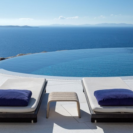 pool and beds close up