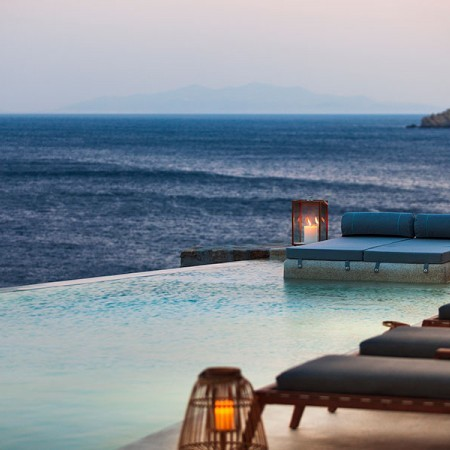 sea view and pool area during sunset hour