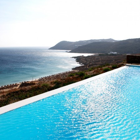 swimming pool view to elia beach