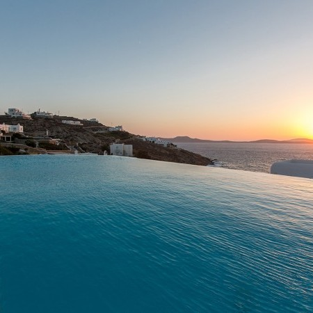 mykonos villa sunset view