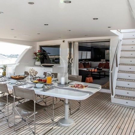 Yacht's deck dining area