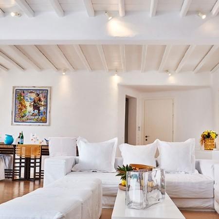 indoor living area of Villa Rica in Mykonos