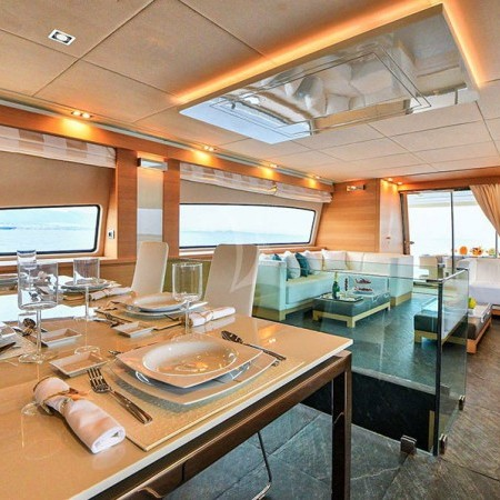 boat's interior dining area