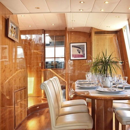 Atalanti yacht dining area