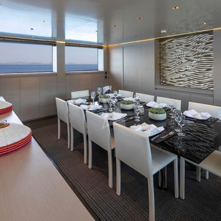 billa yacht Greece interior formal dining area