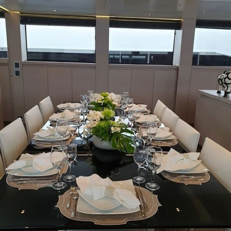 billa yacht Greece dining area detail