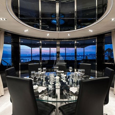Bliss yacht dining area