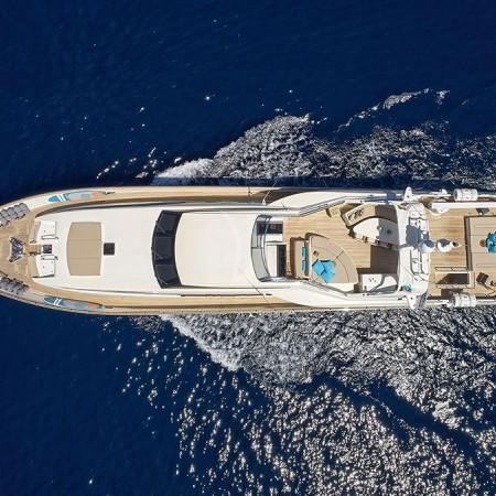 Celia yacht Greece aerial photo