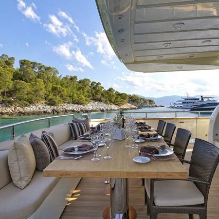 Celia yacht Greece deck dining