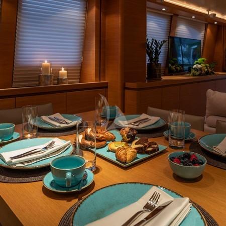 Celia yacht Greece formal dining interior