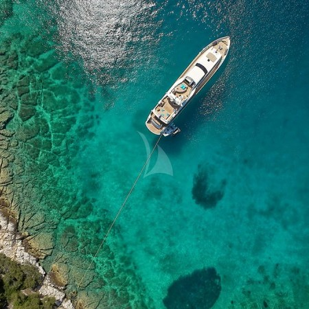 Celia yacht aerial view from the top