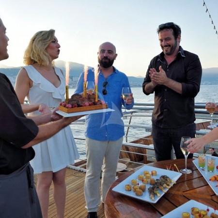 yacht charter in Greece wedding celebration