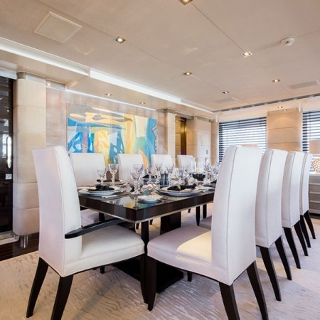Clicia yacht interior dining area