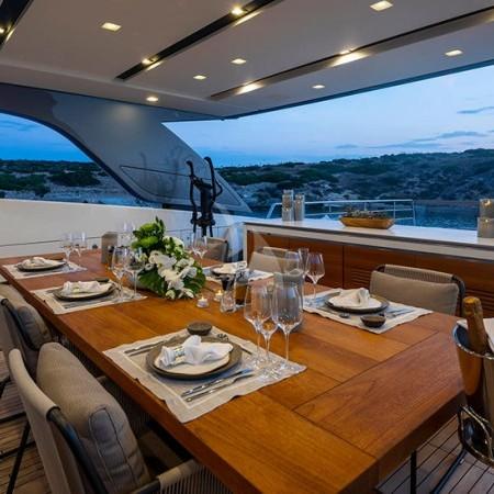 Dinaia yacht deck dining area