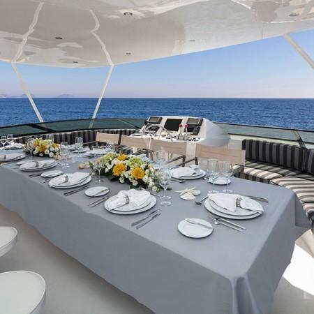 endless summer yacht  deck dining