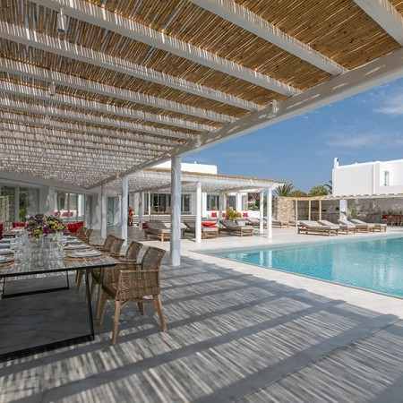 outdoor area by the pool