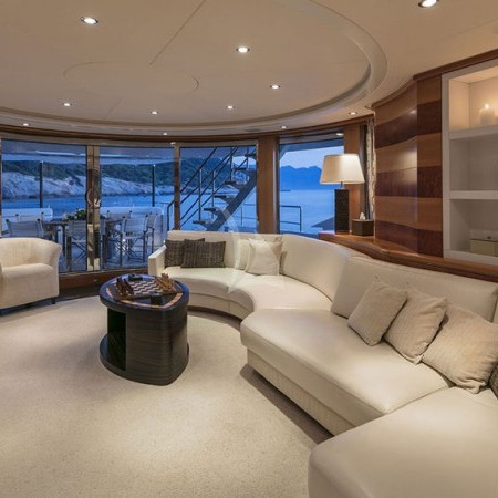 l'equinox yacht indoor living area